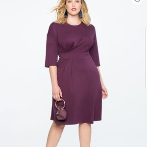 🆕️Eloquii Asymmetrical Pleated Dress Purple NWT